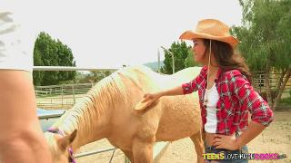 Gabriella Ford rides her tight pussy on a huge cock