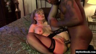 Nina Hartley plays the scorned billionaires wife in this story based scene. Her